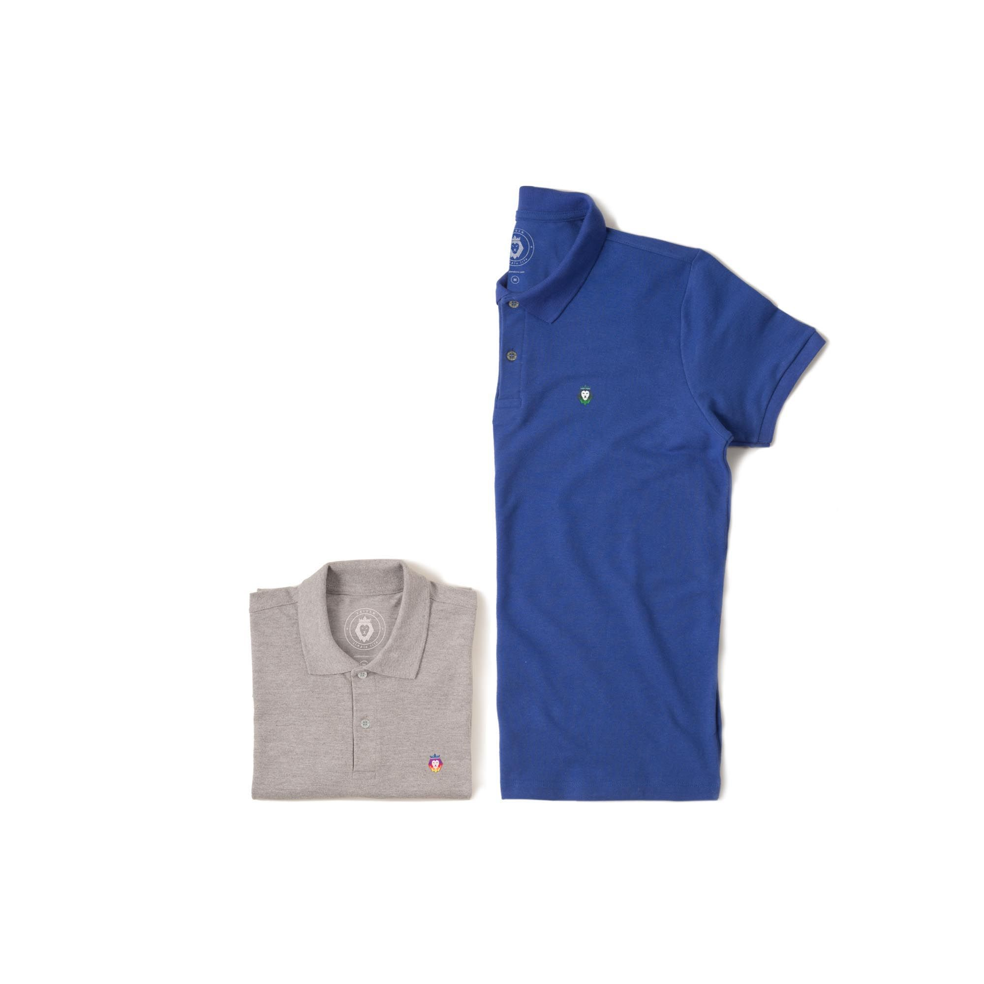 Kit 2 Camisas Polo Basic Zaiden Royal Mescla Masculina