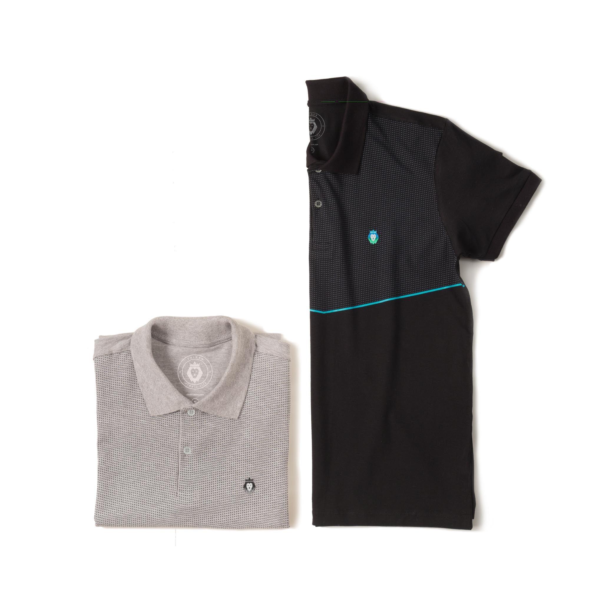 Kit 2 Camisas Polo Cotton Premium Zaiden Mescla Preta Masculina