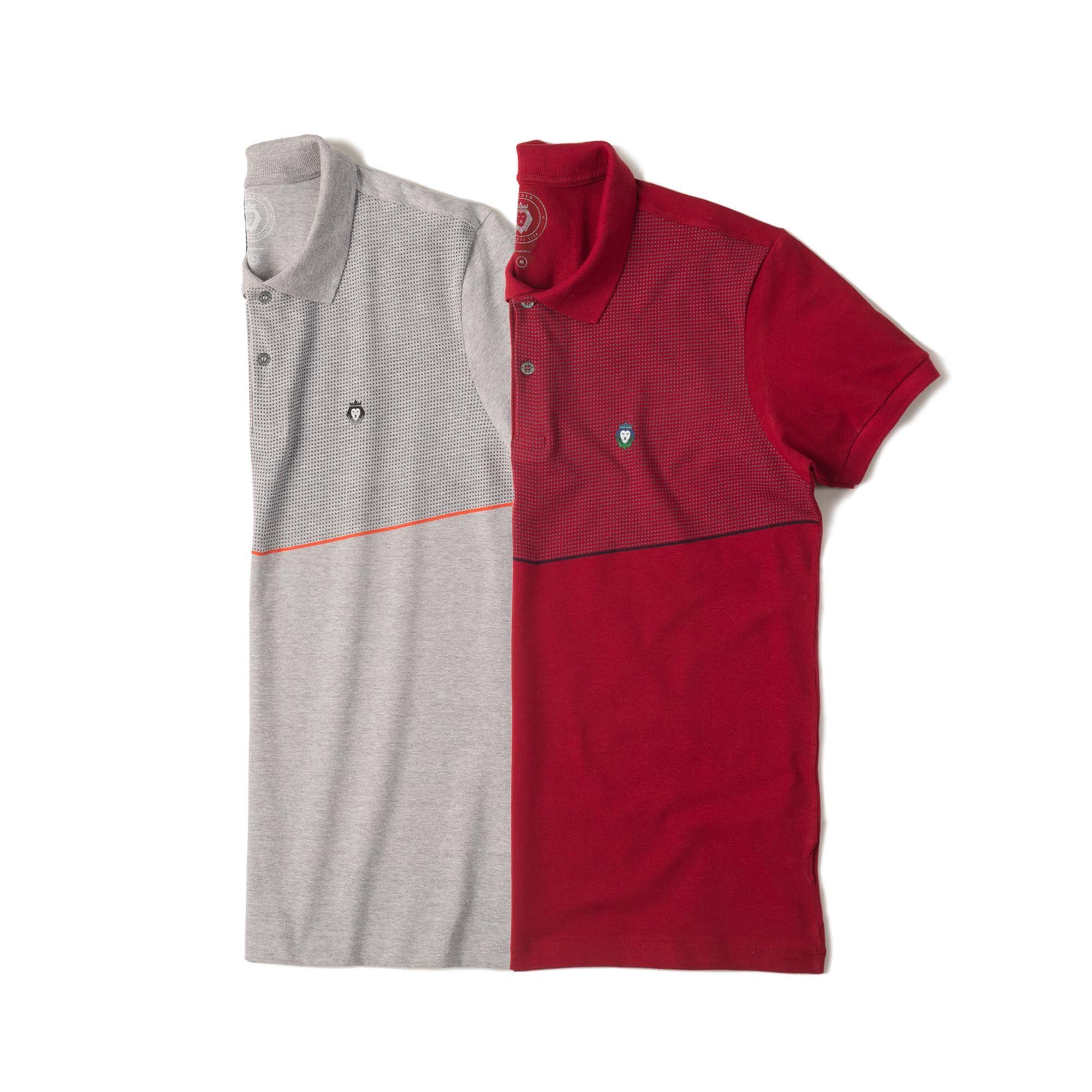 Kit 2 Camisas Polo Premium Zaiden Mescla Bordô Masculina