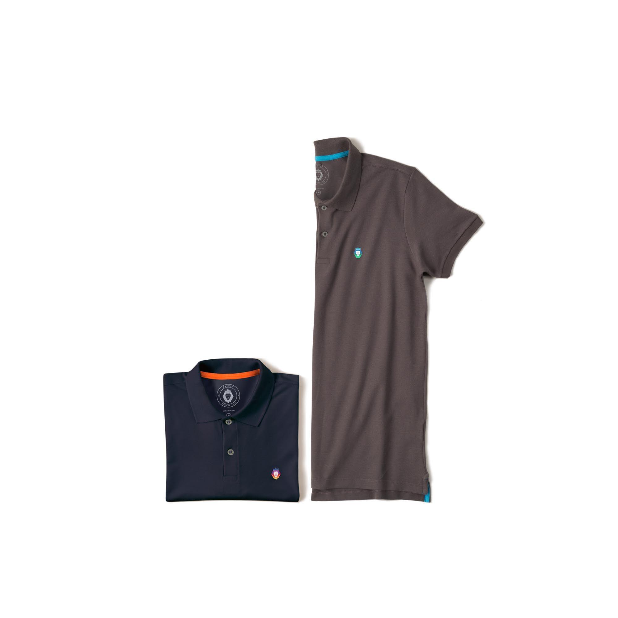 Kit 2 Camisas Polo Style Zaiden Cinza Azul Marinho Masculina