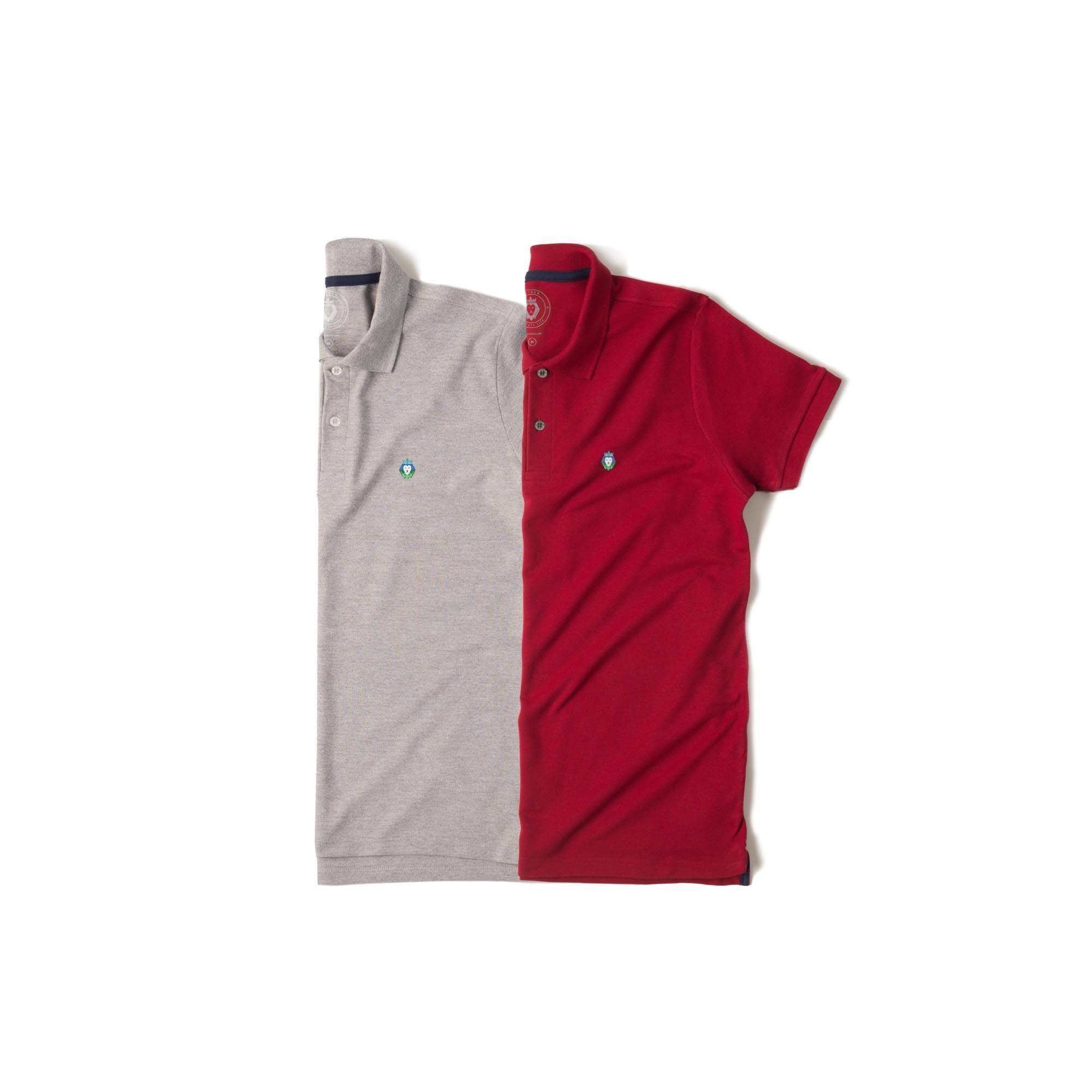 Kit 2 Camisas Polo Style Zaiden Mescla Bordô Masculina