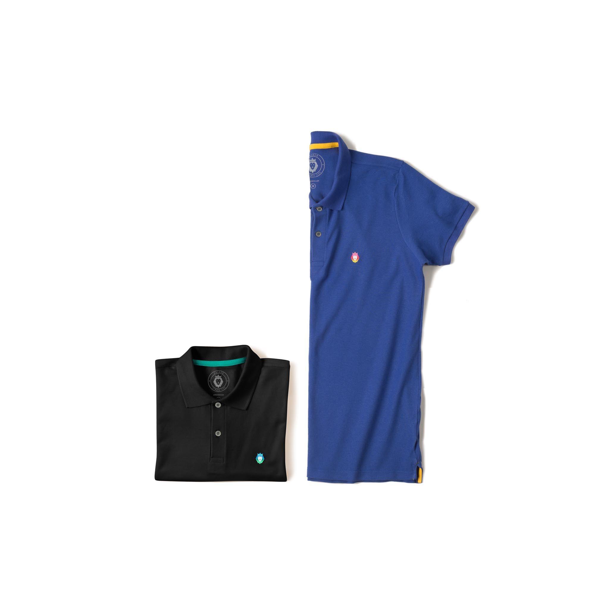 Kit 2 Camisas Polo Style Zaiden Royal Preta Masculina