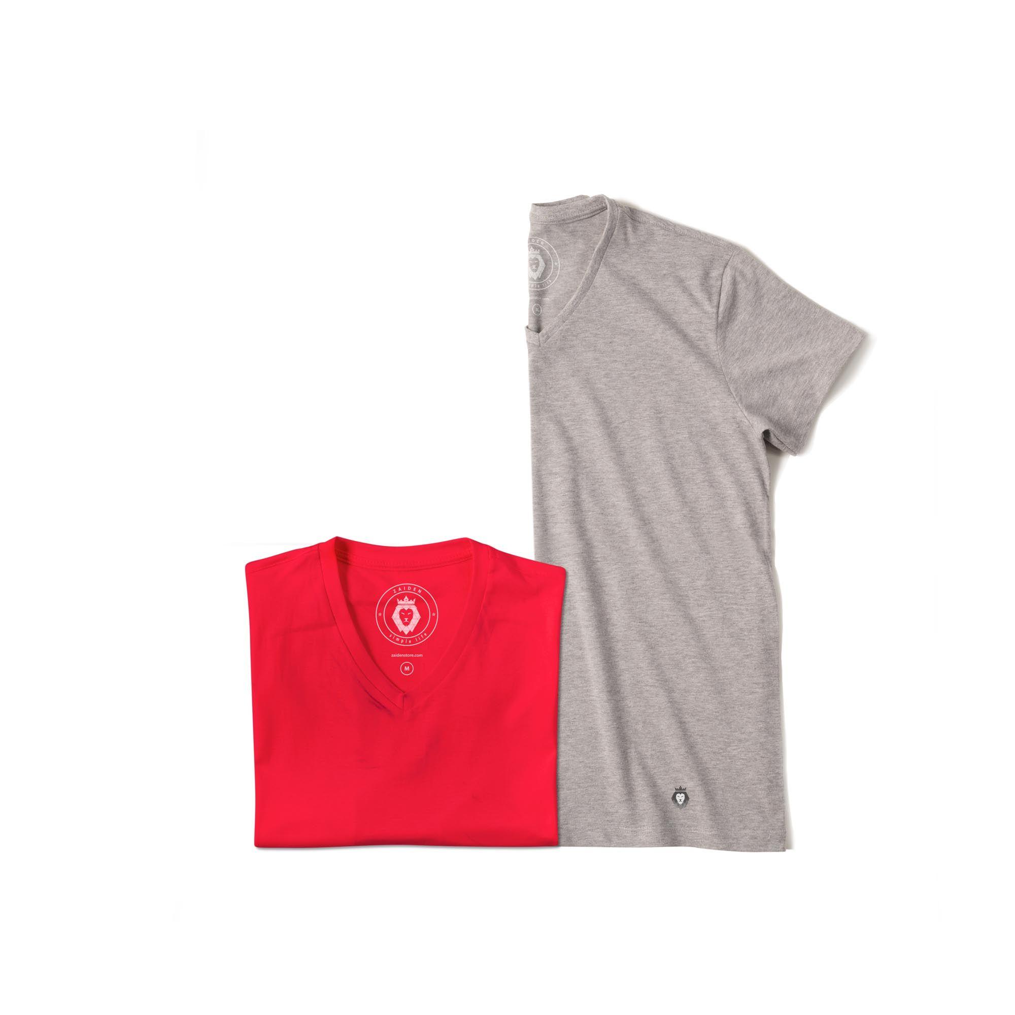 Kit 2 T-Shirt Basic Zaiden Mescla Vermelha Masculina