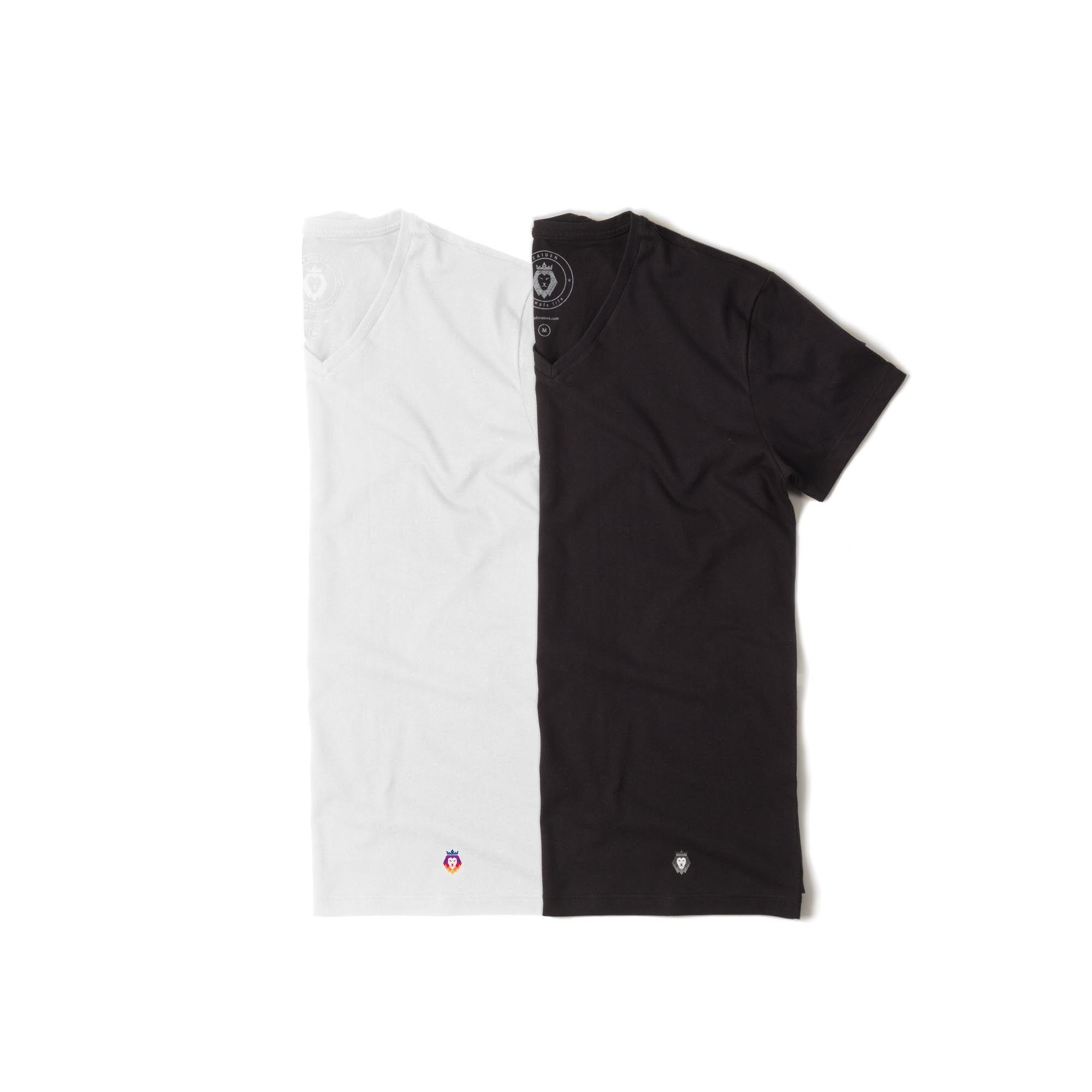 Kit 2 T-Shirt Basic Zaiden Preta Branca Masculina