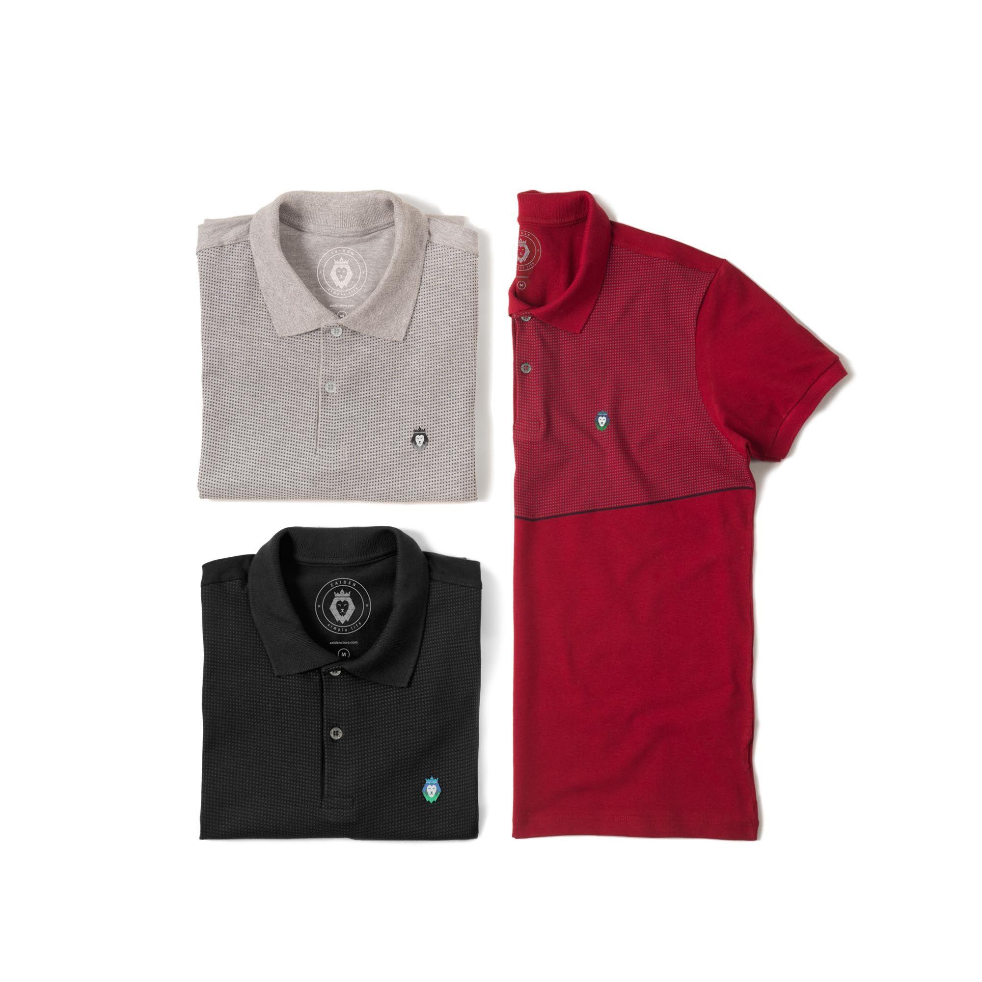 Kit 3 Camisas Polo Premium Zaiden Mescla Preta Bordô Masculina