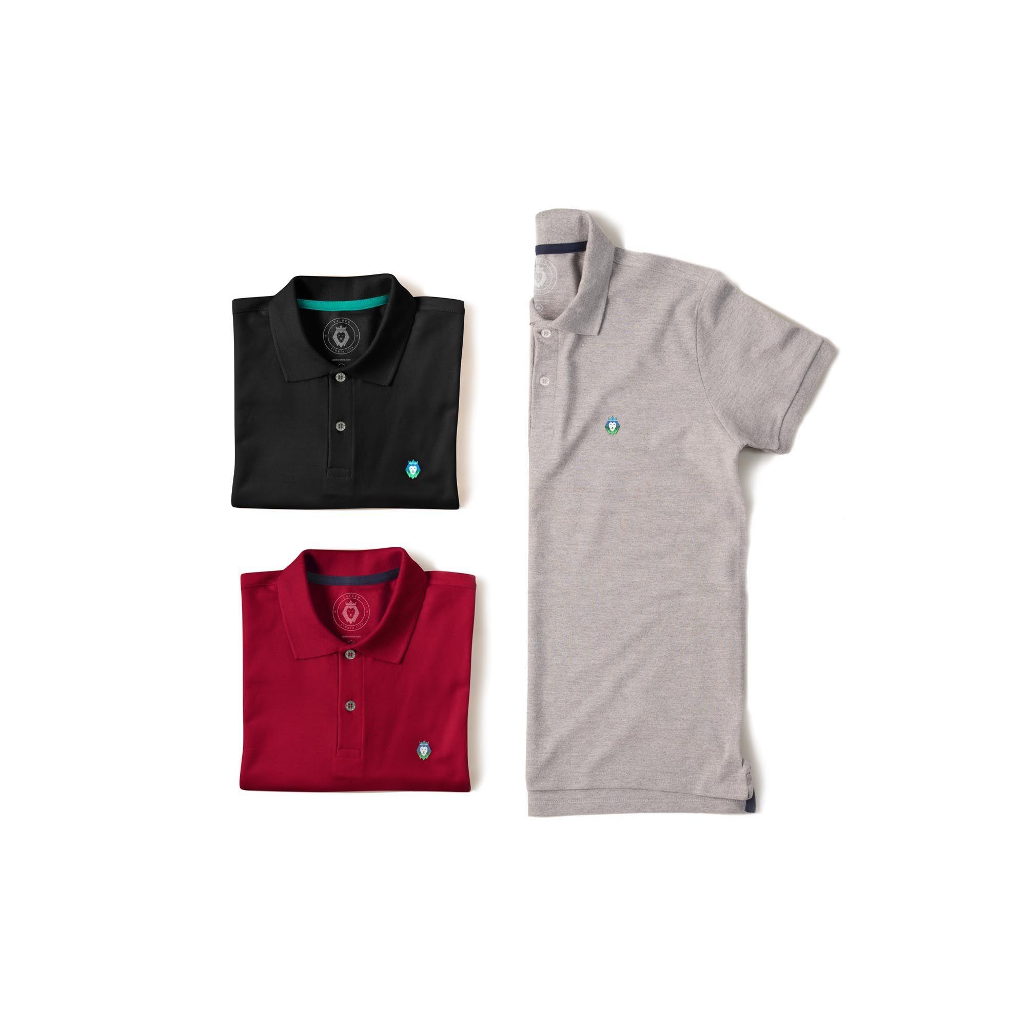 Kit 3 Camisas Polo Style Zaiden Preta Bordô Mescla Masculina