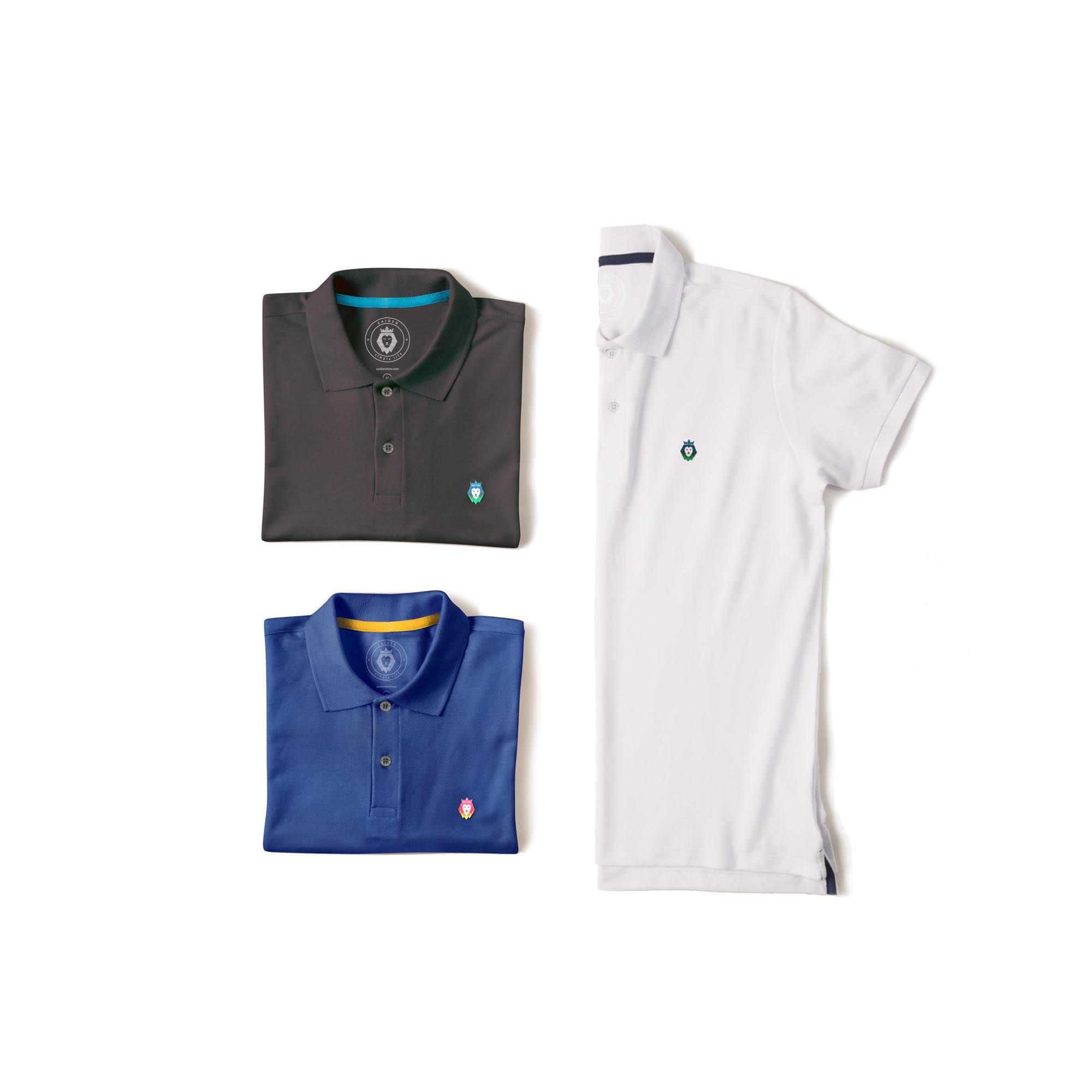 Kit 3 Camisas Polo Style Zaiden Royal Cinza Branca Masculina - ZAIDEN ... 1ccbda296bdfb