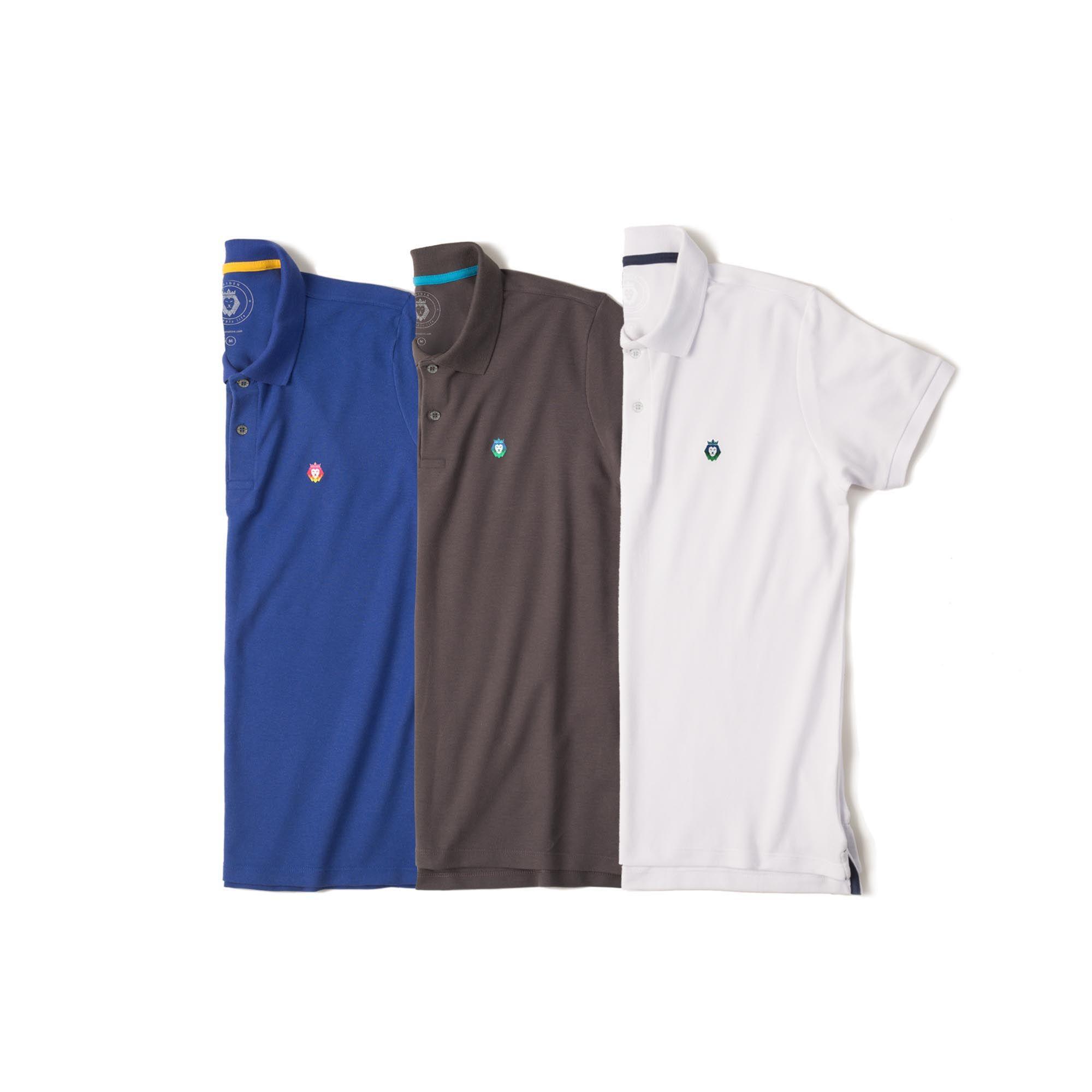 Kit 3 Camisas Polo Style Zaiden Royal Cinza Branca Masculina