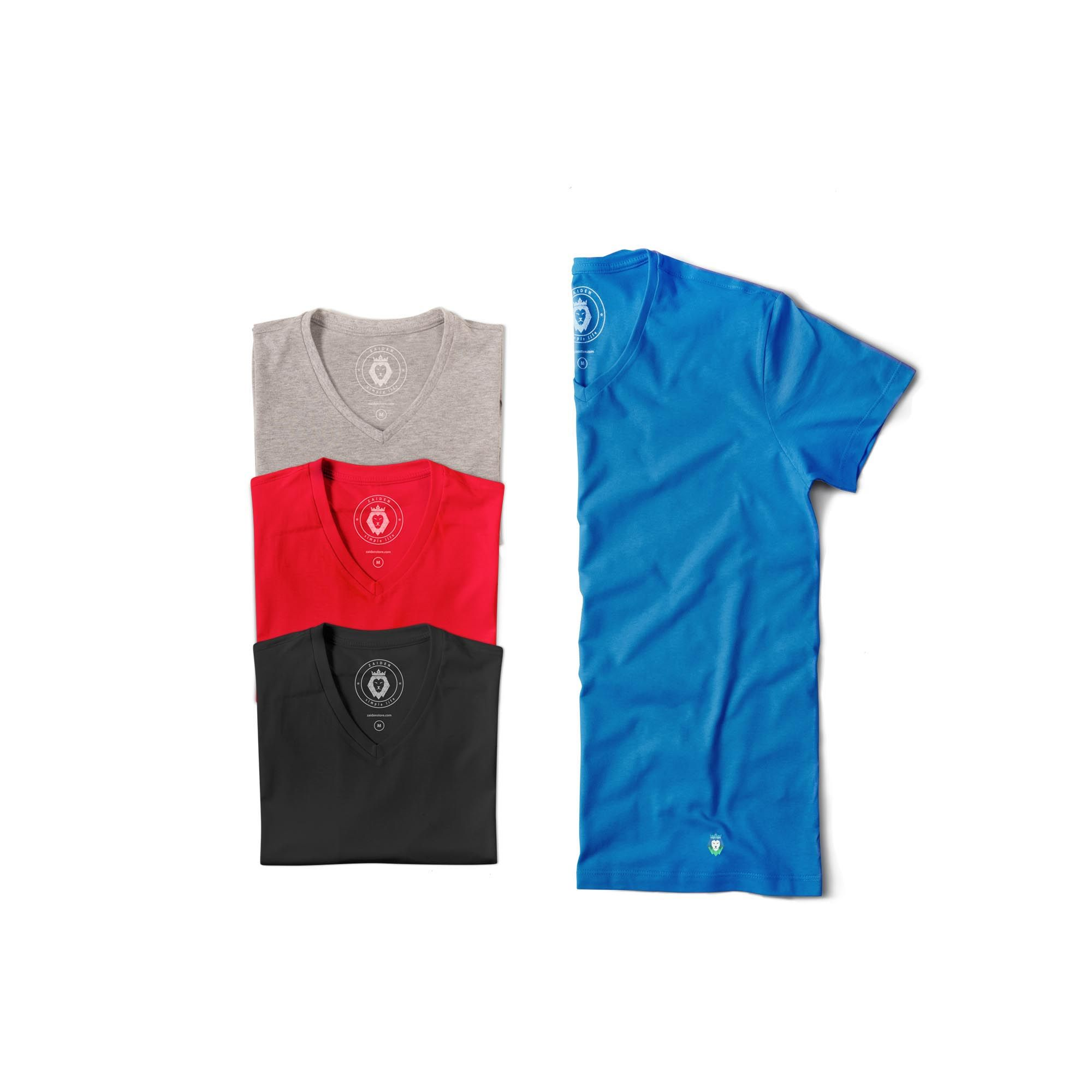 Kit 4 T-Shirts Basic Zaiden Mescla Vermelha Preta Royal Masculina