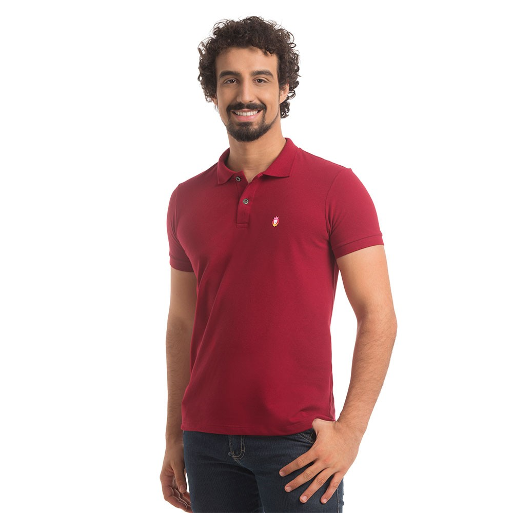 Polo Piquet Zaiden Basic Bordô Masculina