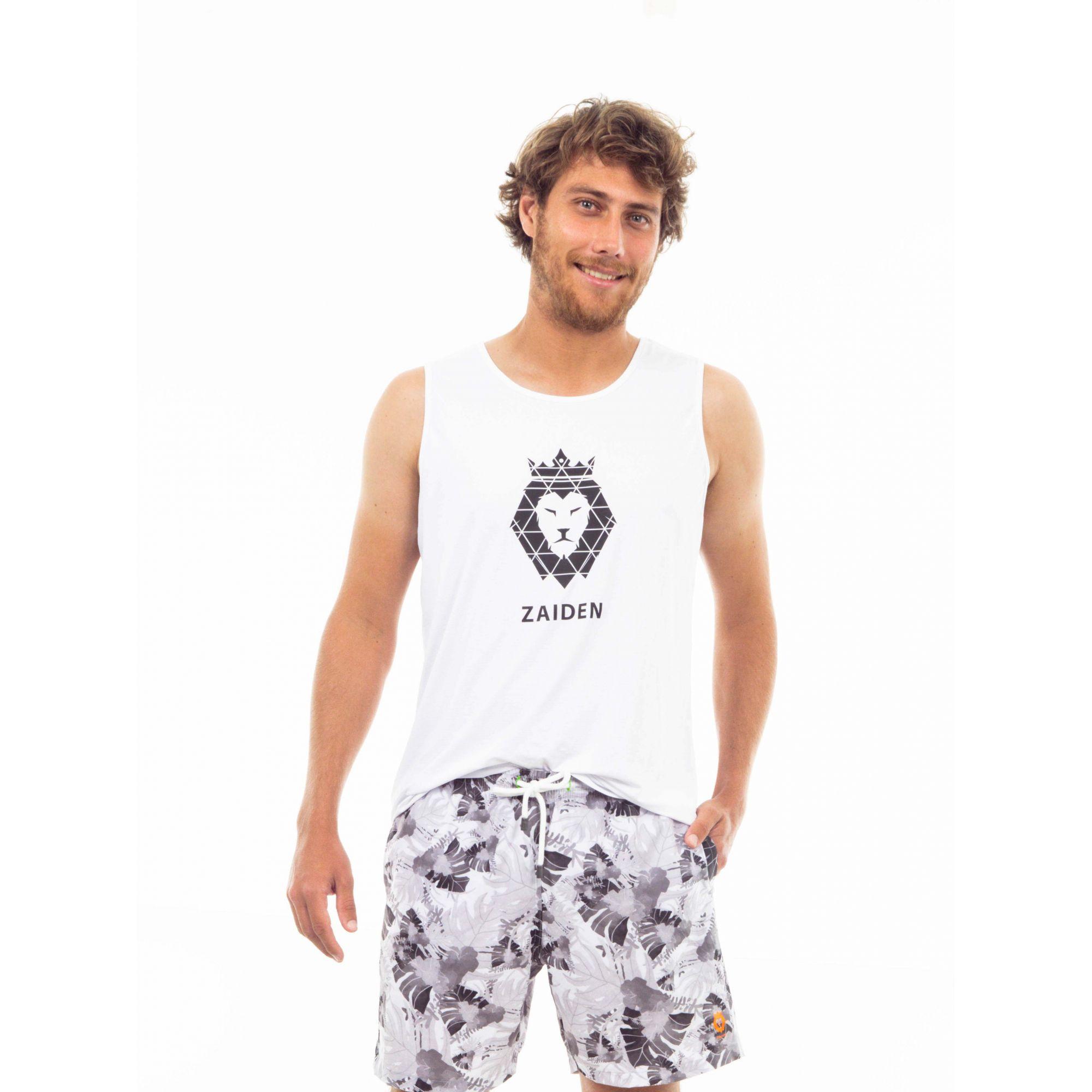 Regata Masculina Poliamida ZAIDEN Branca Leão Preto