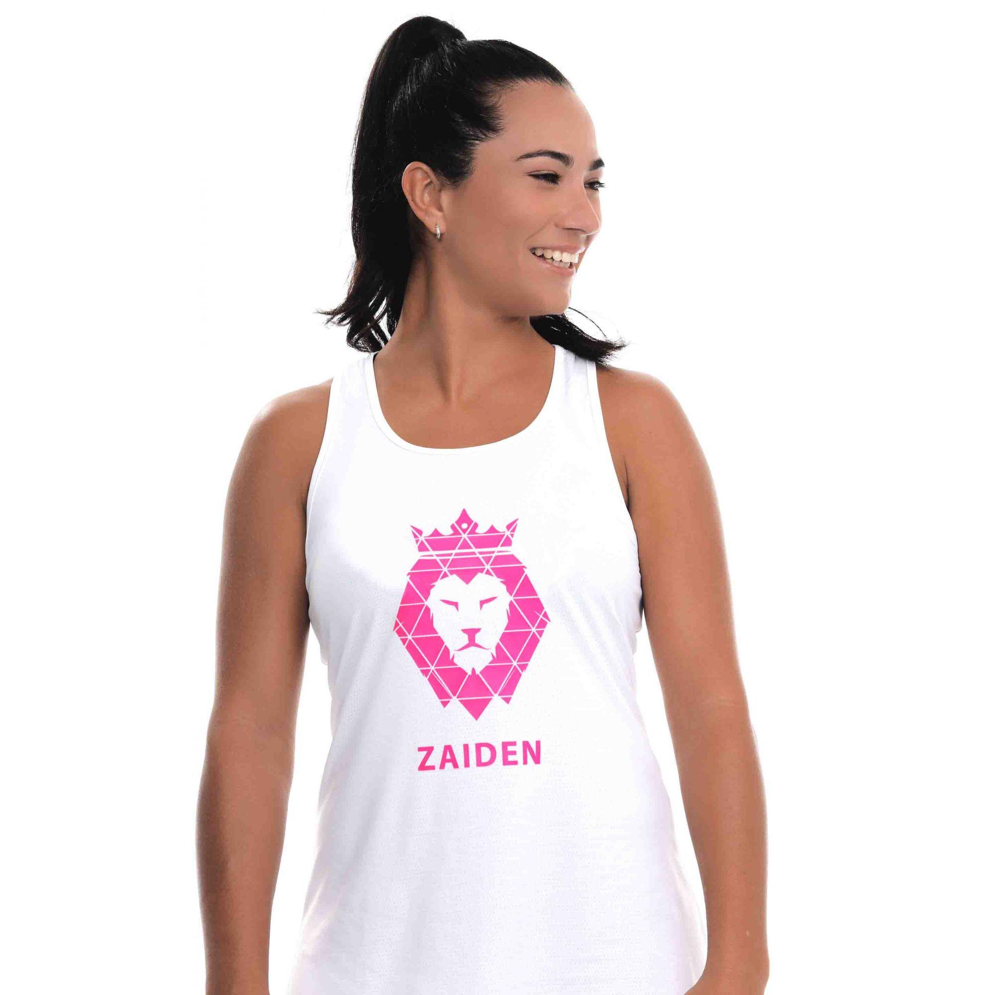 Regata Feminina Poliamida ZAIDEN Branca Leão Pink