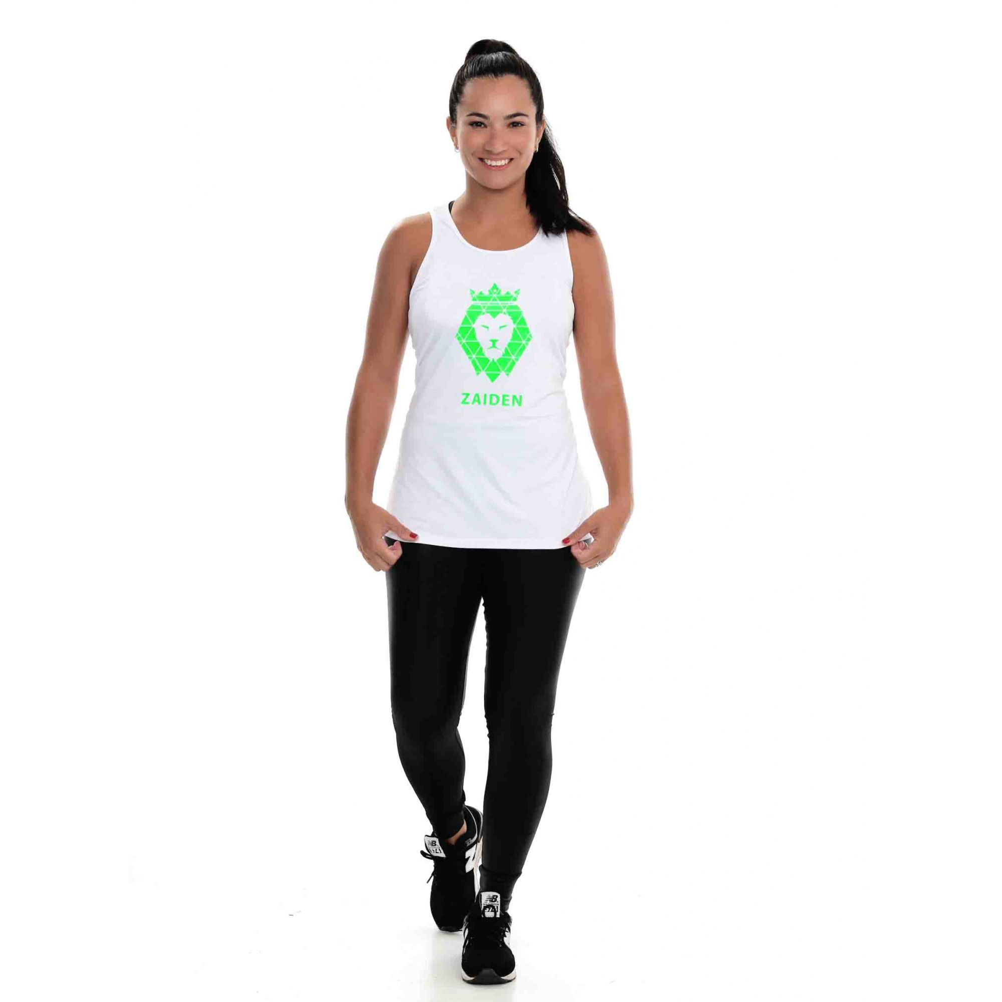 Regata Feminina Poliamida ZAIDEN Branca Leão Verde