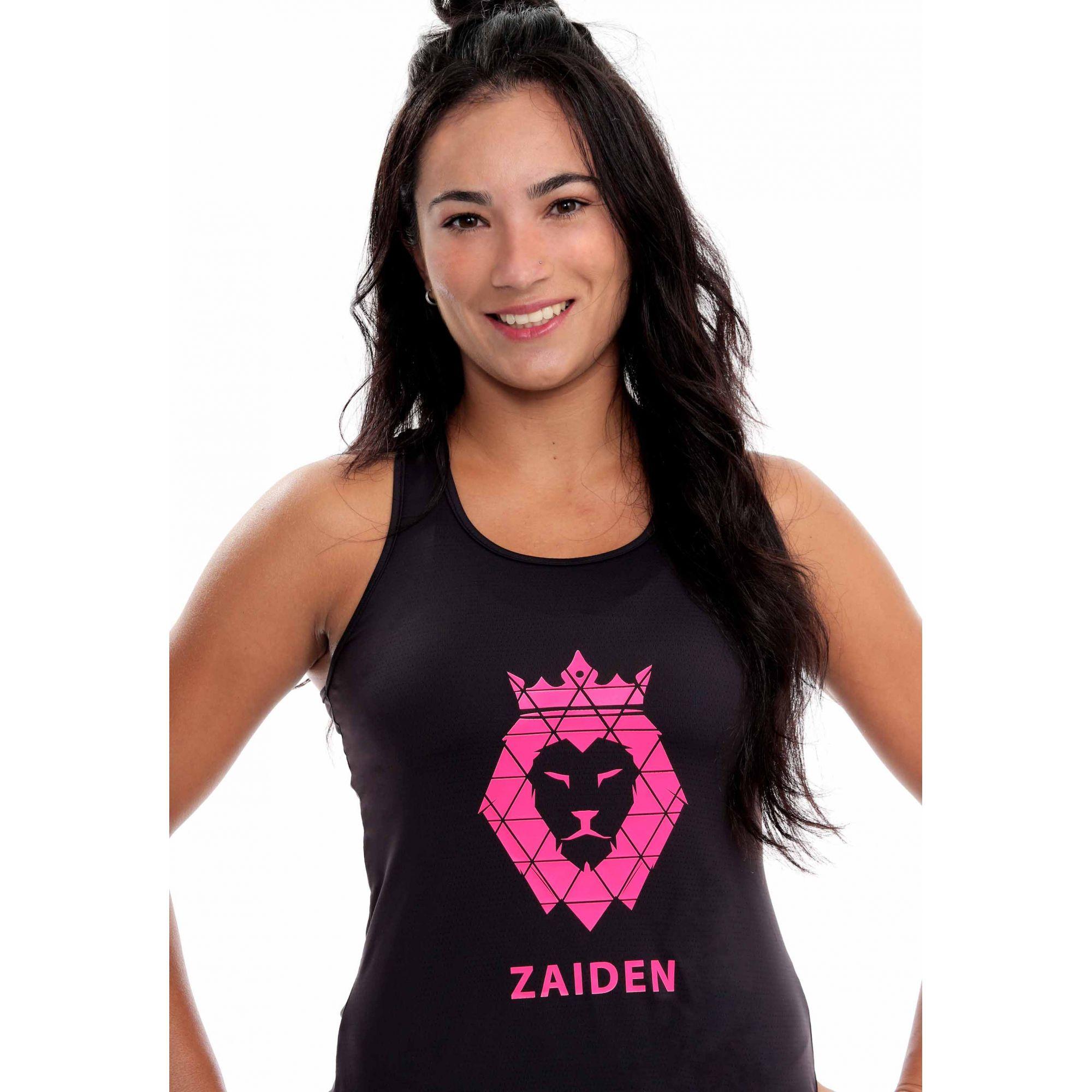 Regata Feminina Poliamida ZAIDEN Preta Leão Pink Neon