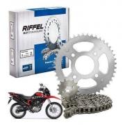 Kit Relação NXR Bros 160 honda xre 190 Tração Transmissão Riffel aço 1045