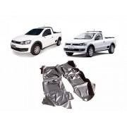 Tapete Auto para Assoalho em Verniz Liso Volkswagen Saveiro Simples G5 G6 G7 Grafite