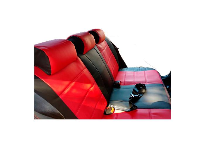 Capa Banco Couro Ecológico Preto Com Vermelho Para Polo Modelo Novo