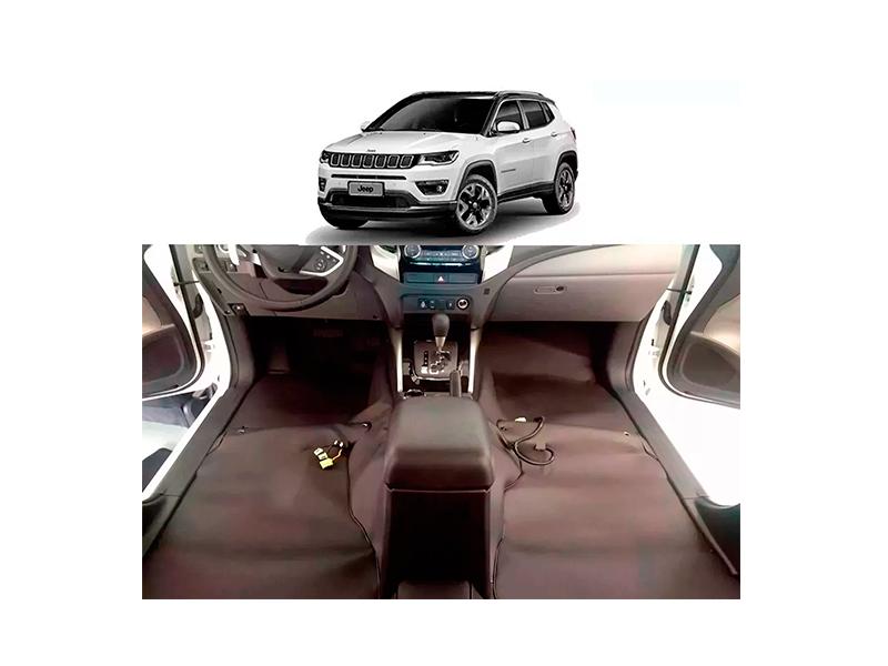 tapete Super Luxo Automotivo Assoalho Jeep Compass 2016 a 2020 com mala