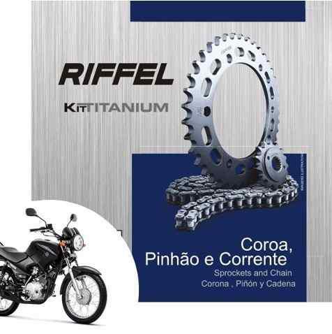Kit Relação yamaha Factor 125 YBR 125 Transmissão Tração Riffel aço 1045