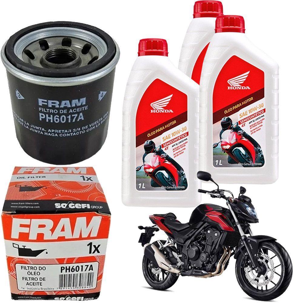 Kit Troca Oleo Filtro CB 500F 10w30 Fram - Fram + Honda