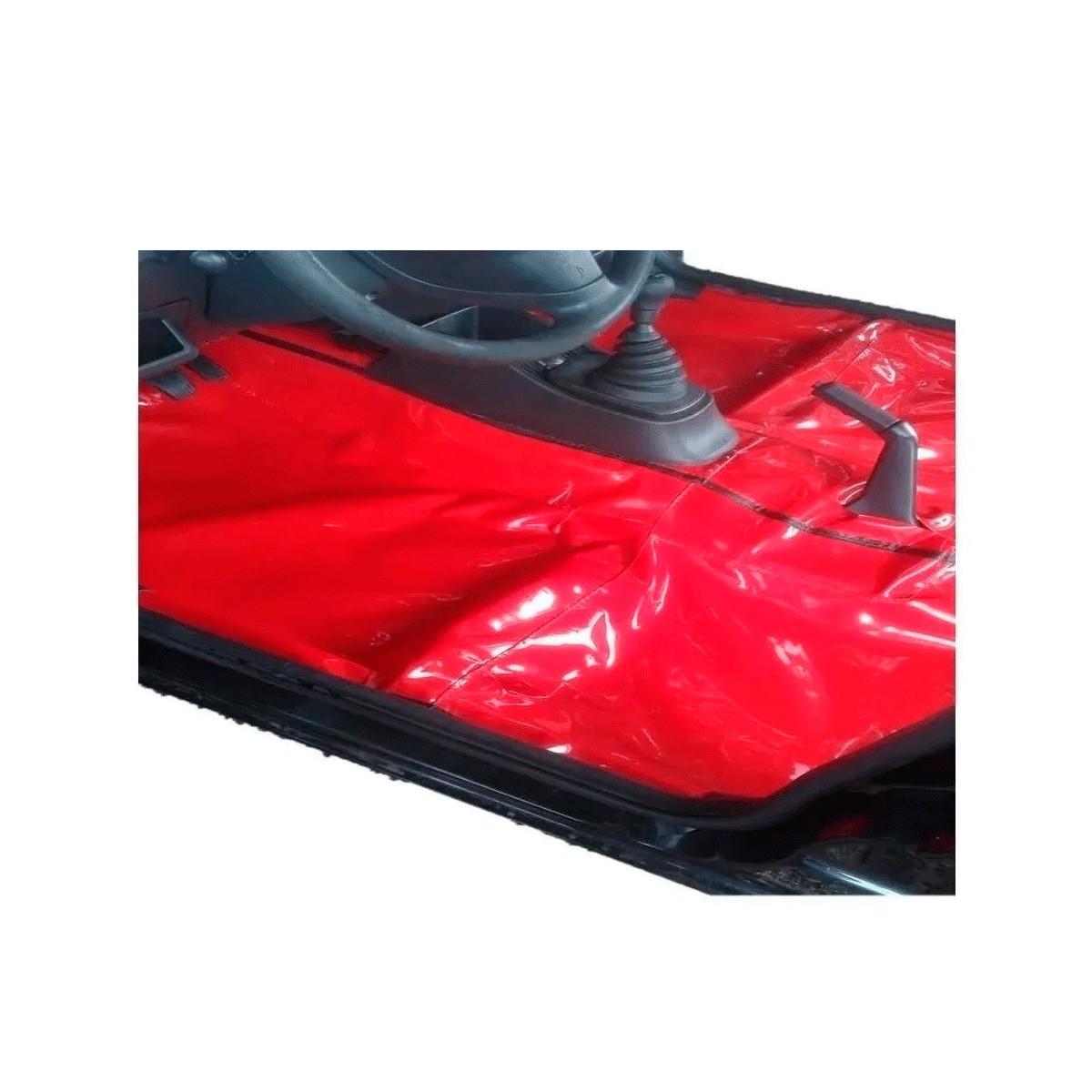 Tapete Auto para Assoalho em Verniz Liso Volkswagen Gol Antigo Quadrado Vermelho