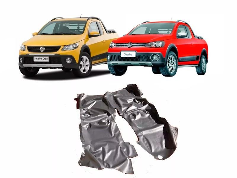 Tapete Auto para Assoalho em Verniz Liso Volkswagen Saveiro Cross Dupla Estendida G5 G6 G7 Preto