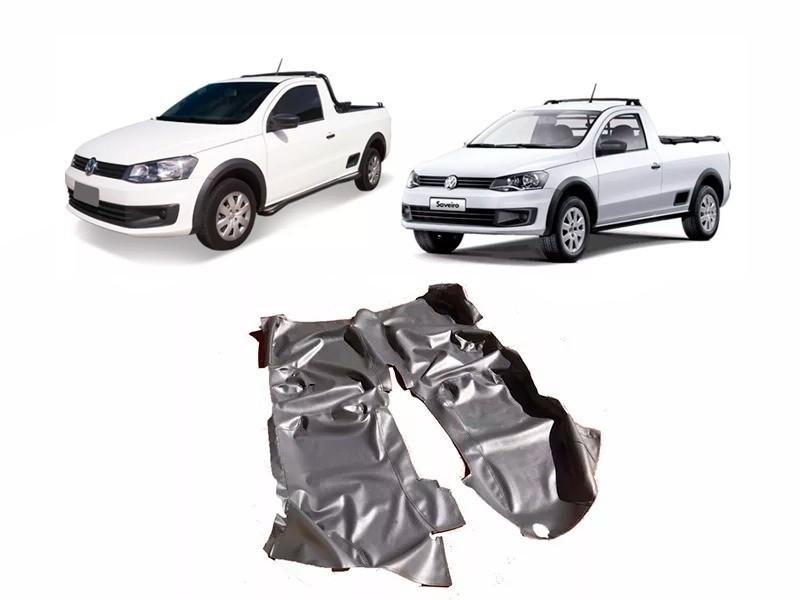 Tapete Auto para Assoalho em Verniz Liso Volkswagen Saveiro Simples G5 G6 G7 Preto