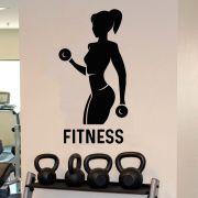 Adesivo de Parede Academia Fitness Silhueta Preto