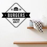 Adesivo de Parede Cozinha Gourmet Burger Preto