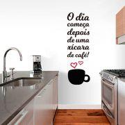 Adesivo de Parede Frase Cozinha Xícara de Café