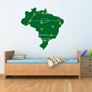 Adesivo de Parede Mapa Brasil Futebol Campo