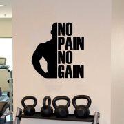 Adesivo Decorativo de Parede Frase No Pain No Gain Academia