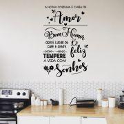 Adesivo Decorativo de Parede Frase Nossa Cozinha é Cheia de Amor