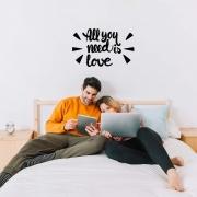 Adesivo Decorativo Frase Inglês All You Need is Love Decoração Música