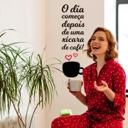 Adesivo Decorativo Frase O Dia Começa Depois de Uma Xícara de Café