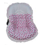 Capa Para Bebê Conforto Lacinhos Rosa 100% Algodão