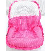 Capa Para Bebê Conforto Rosa e Cinza 100% Algodão