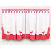 Cortina Cozinha Flamingo Rosa Patchwork