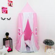 Kit 4 Peças Tenda Cabaninha de Teto Infantil Casinha de Boneca Rosa e Branca com Tapete e Almofada