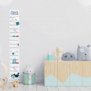 Régua Adesivo de Crescimento Ursinho Carrinhos Quarto Infantil