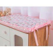 Trocador De Cômoda Para Bebê Menina Rosa Floral