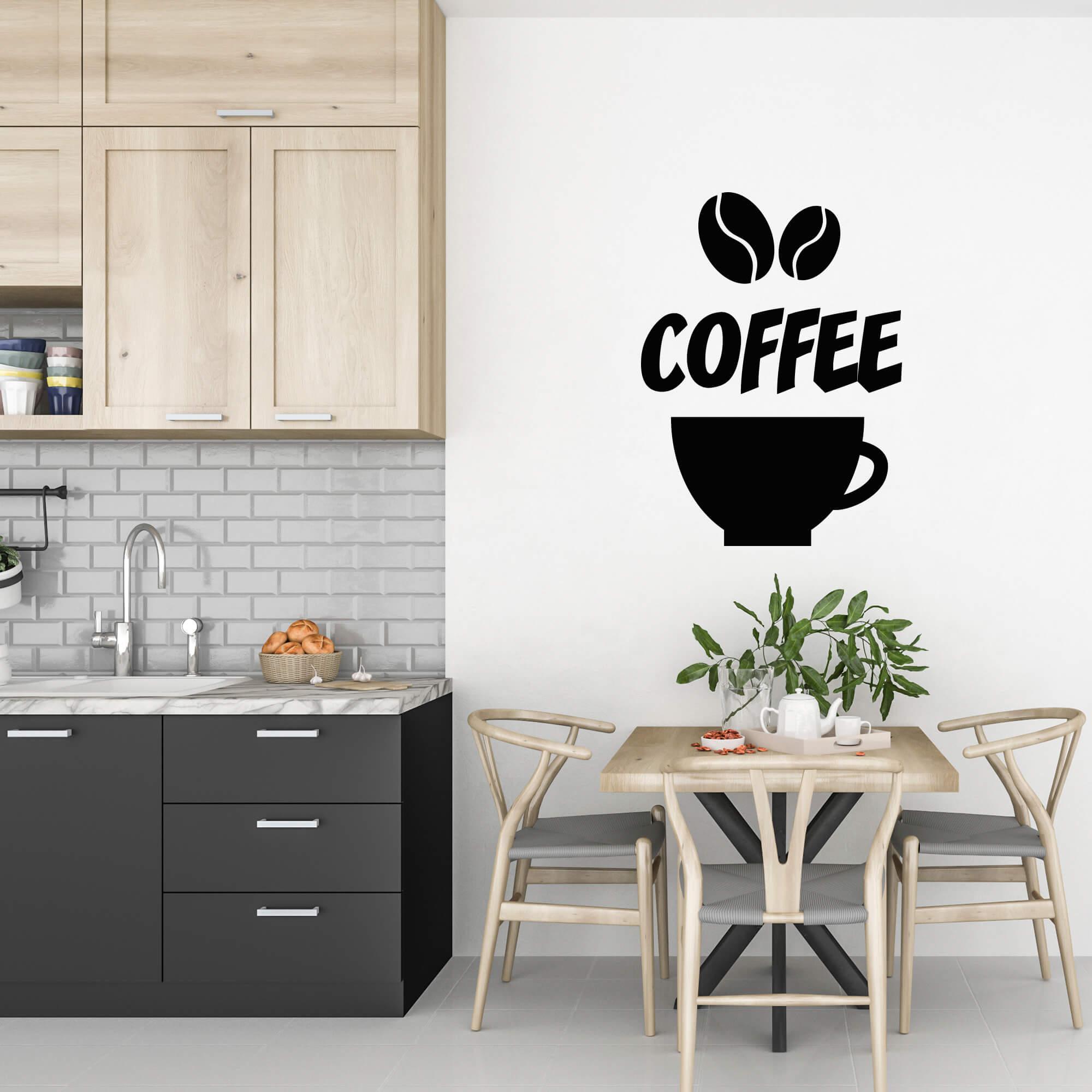Adesivo Cantinho do Café Coffee Grãos Preto