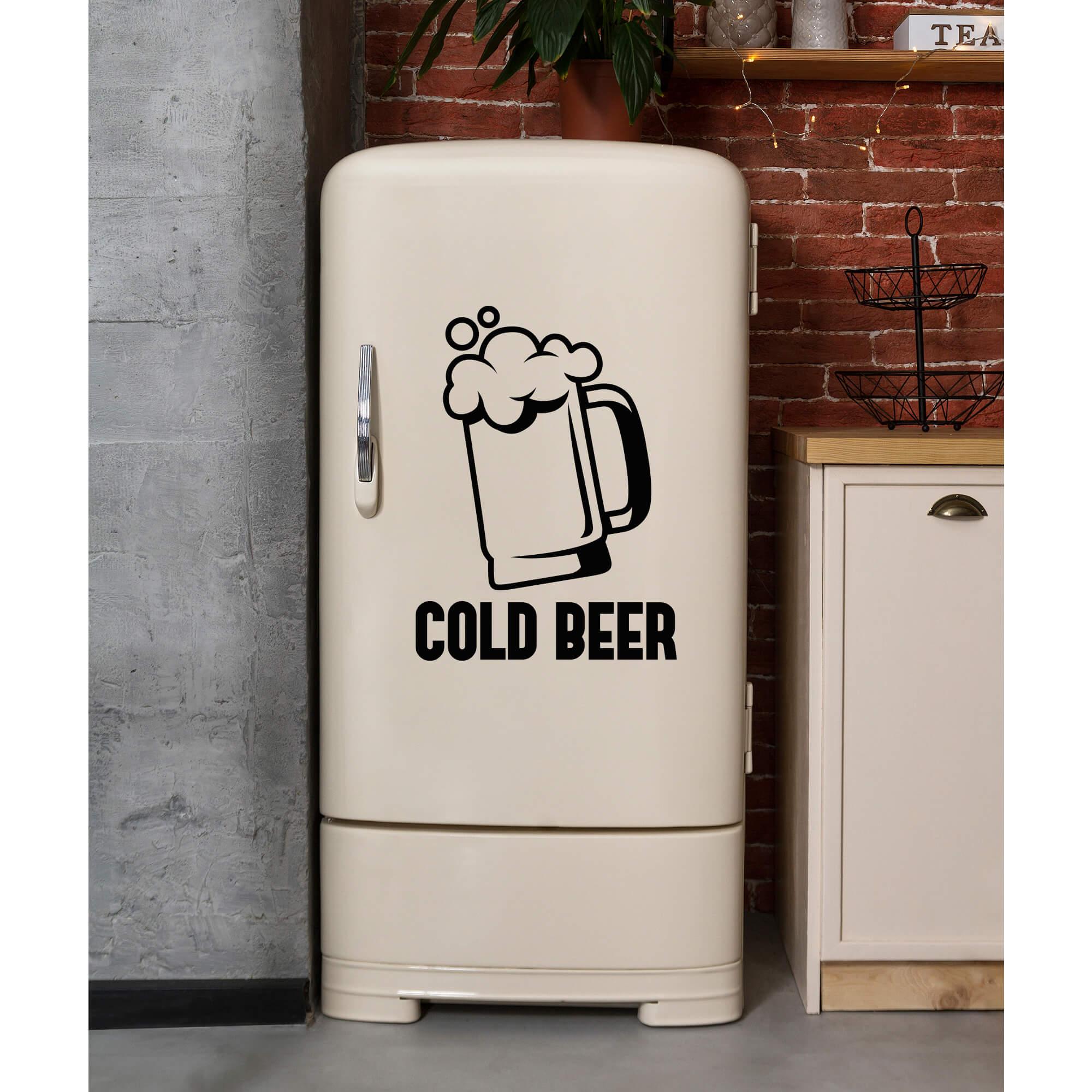 Adesivo Cerveja Gelada Cold Beer Decoração Geladeira Porta Parede