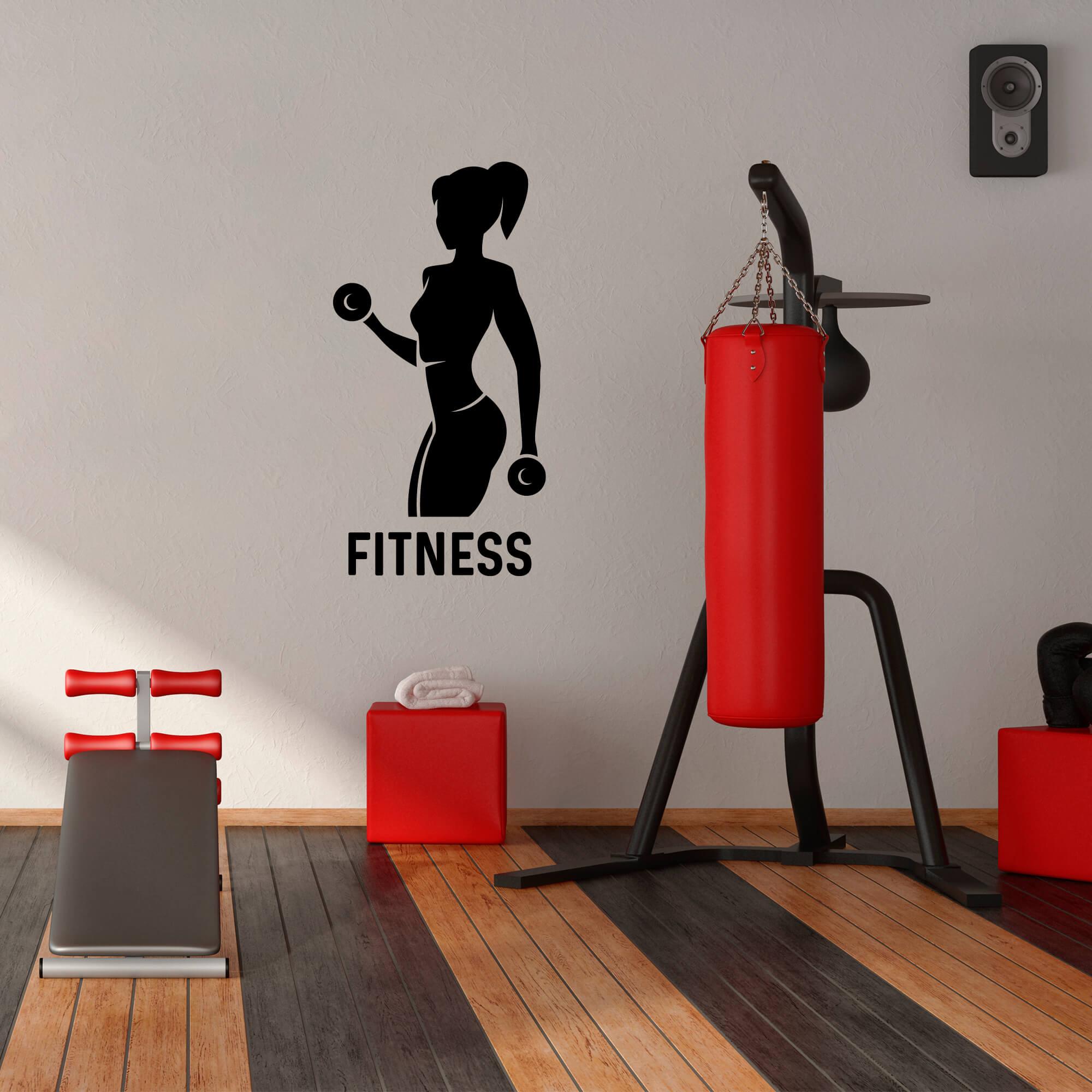Adesivo de Parede Academia Silhueta Mulher Fitness Musculação Preto