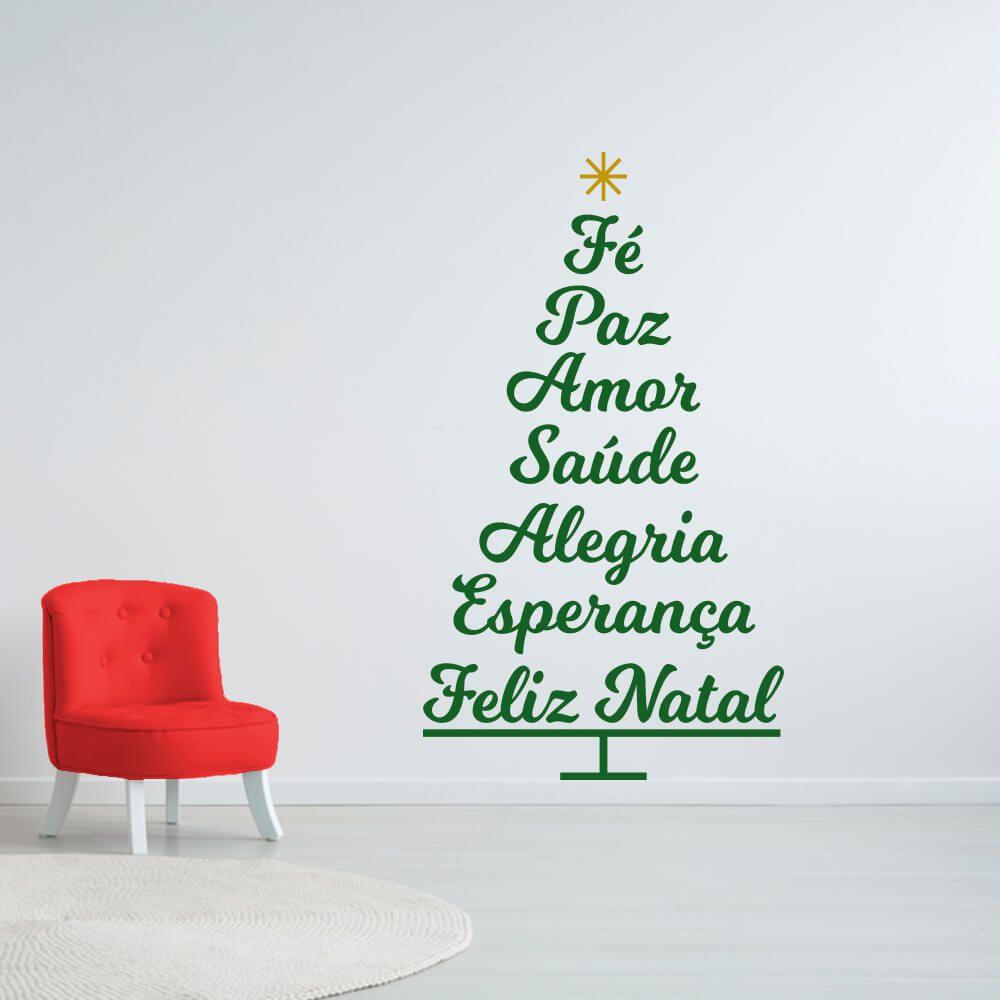 Adesivo de Parede Árvore de Natal Palavras Verde