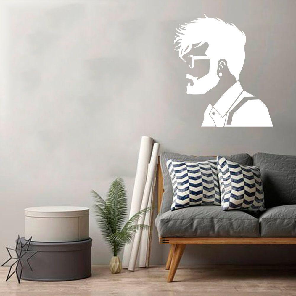 Adesivo de Parede Barbeiro Hipster