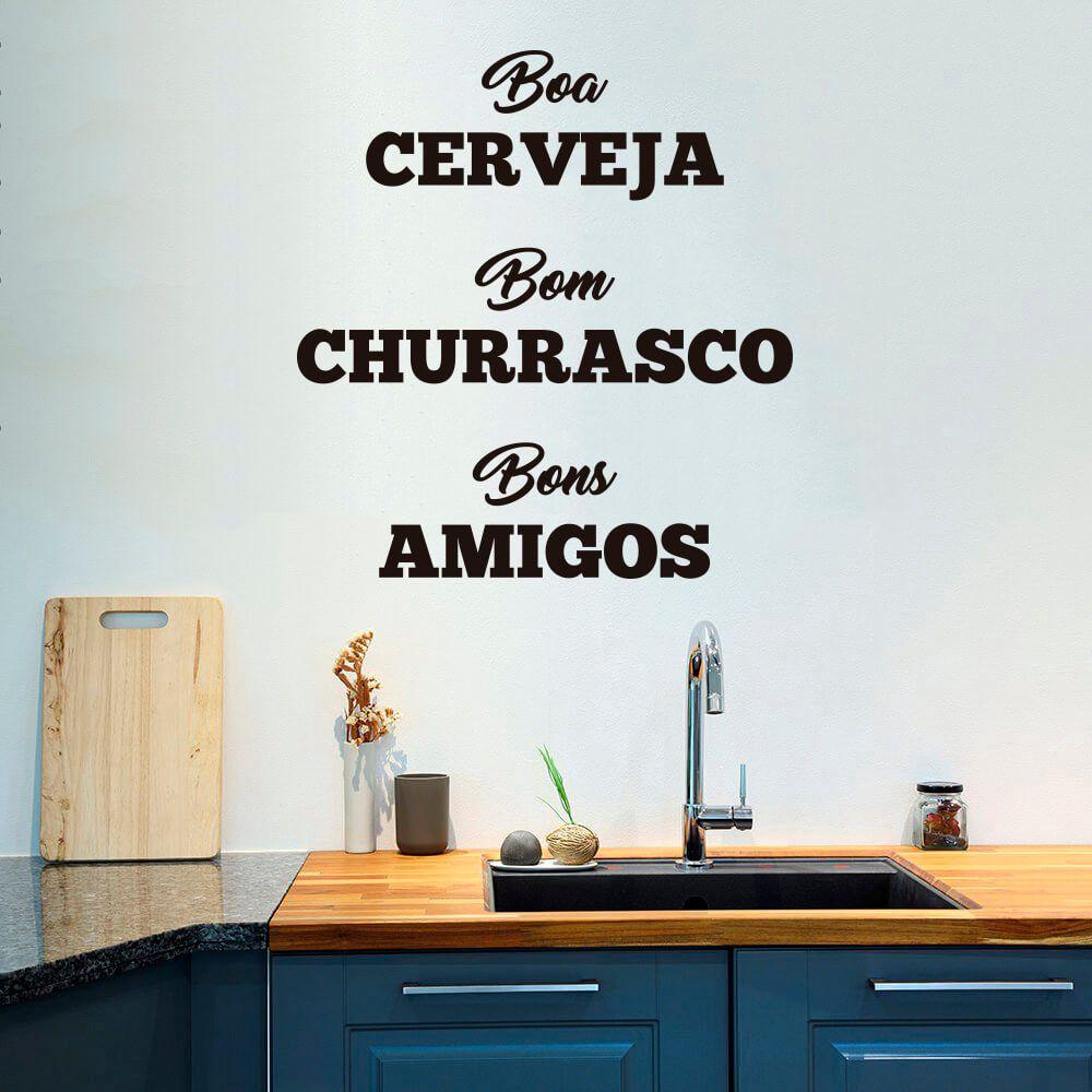 Adesivo de Parede Cerveja, Churrasco e Amigos