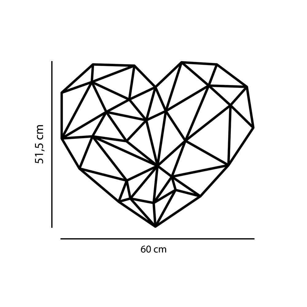 Adesivo de Parede Coração Geométrico Decoração Industrial Quarto Casal