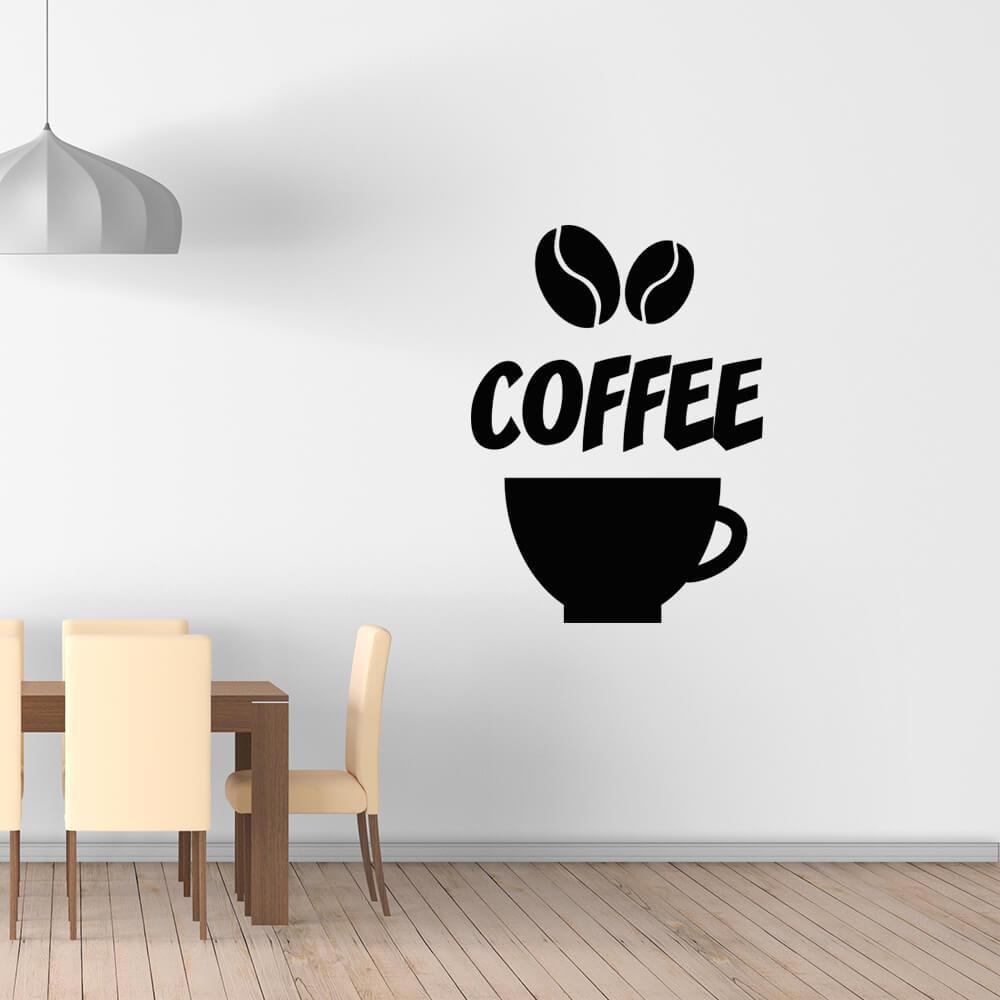 Adesivo de Parede Cozinha Gourmet Coffee Preto