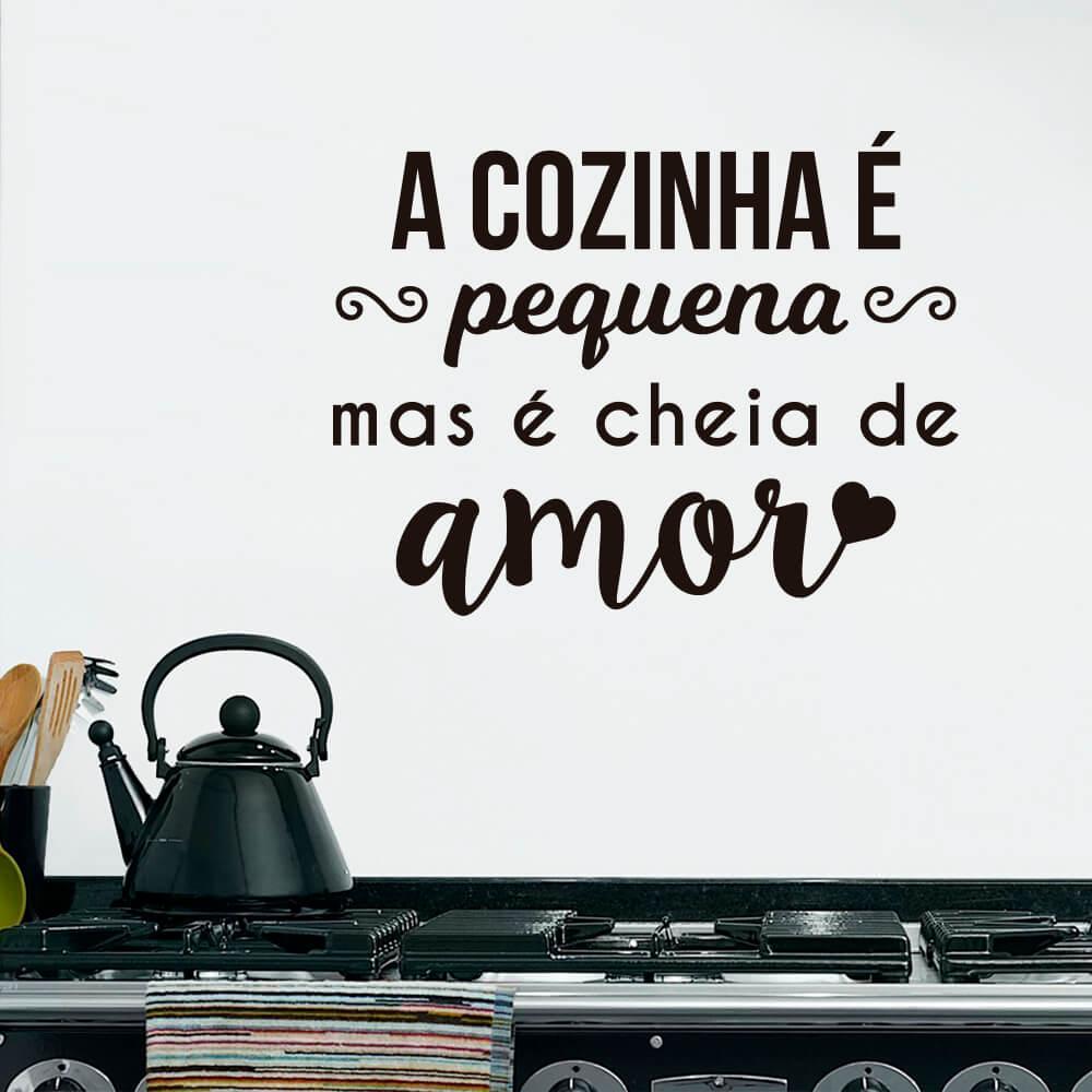 Adesivo de Parede Cozinha Pequena Cheia de Amor
